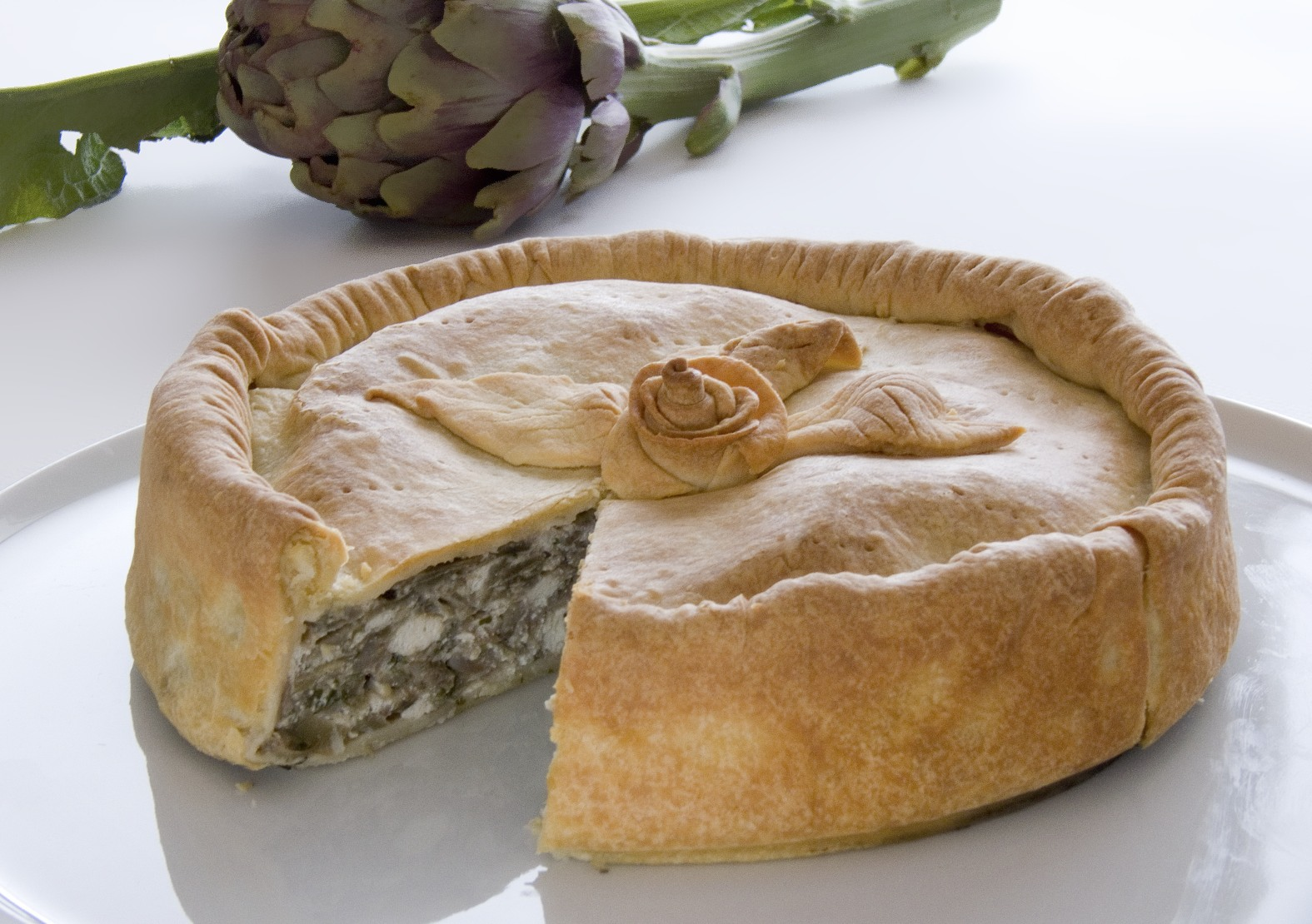 Artichoke Pie Sliced